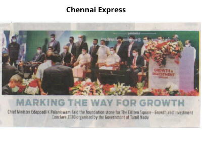 Chief Minister Edappadi K Palaniswami laid the foundation stone for The Citizen Square on 14th December 2020 - Growth and Investment Conclave 2020