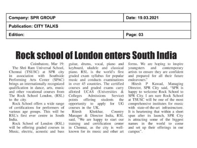 SPR - TSUSC Rock School of London Coverage on 20th March 2021